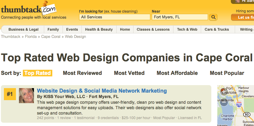 Fort Myers Web Designer | Thumbtack #1 Rated Web Designer